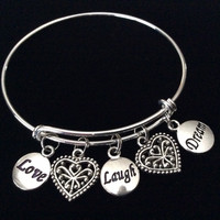 Love Laugh Dream Double Filigree Hearts Silver Expandable Charm Bracelet