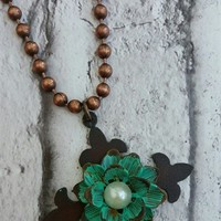 Bronze Bead Necklace with Metal Flower & Cross Pendant ~ Turquoise