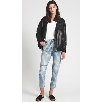 One Teaspoon Legends Denim High Waist Mom Jeans Rocky Stripe