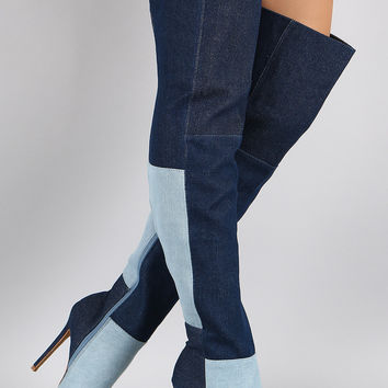 Shoe Republic LA Denim Colorblock Patchwork Stiletto Boots