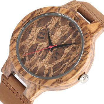 New Arrival Men's Watches Fashion Wooden Case with Leather Strap Wrist Watch Casual Cool Trendy Nature Handmade Style Clock Gift