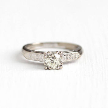 Vintage 14k White Gold .45 CT Old European Cut Diamond Ring - Size 4 1/2 OEC Solitire Engagement Bridal Flower Fine Jewelry w/ Appraisal