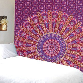 Colorburst Mandala Bohemian Fabric Tapestry