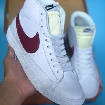 HCXX N370 Nike Blazer Mid Leather Casual Skate Shoes White Wine Red