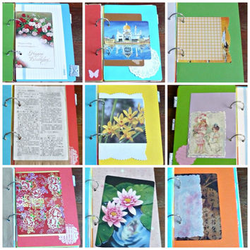 Junk Journal Smash Book Recycled Paper Journal Mixed Paper Journal plus Bonus Red Packet Pack (8.5 x 6 inches)