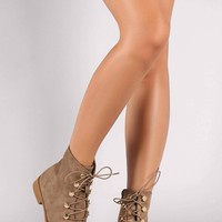 Suede Combat Lace-Up Round Toe Booties