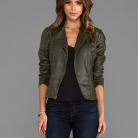 Jack by BB Dakota Harlet 2 Tone Washed Faux Leather Jacket in Army Green