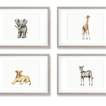 Safari Animal Nursery Art, Set of 4 Prints, Paintings, Elephant, Giraffe, Zebra, Lion, Animal Wall Art, Childrens Wall Decor, Kids Art Print