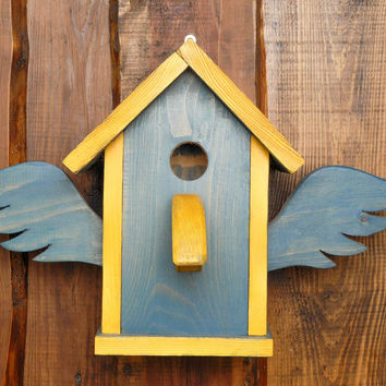 Wooden birdhouse painted facade dyes handmade eco friendly home decor present