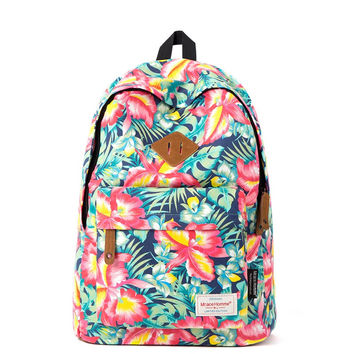 Women Teens Girls Fashion Floral Canvas Backpack Campus School Bag