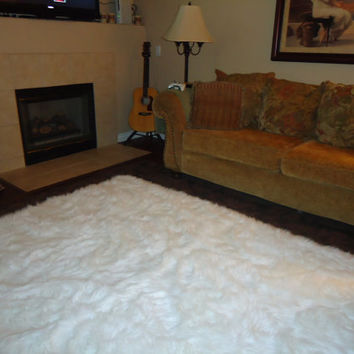 5' x 7' Shaggy Snow White Faux Fur Sheep Skin Accent Rug