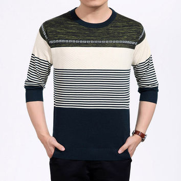 Men's Fashion Long Sleeve Knit Tops Slim Round-neck T-shirts Bottoming Shirt