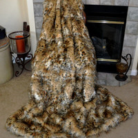 Faux Fur Throw Blanket, Leopard Faux Fur, Fur Bedding, Wild Cat Blanket Throw, Ready to Ship!