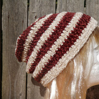 Oatmeal and rusty brown striped crochet beanie, slouchy beanie, unisex