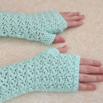 Seafoam green fingerless gloves, handwarmers, texting gloves, armwarmers