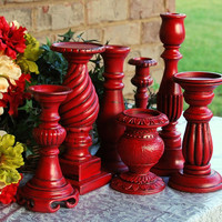 Rustic home decor: Set of 7 vintage country cottage chic red hand-painted candle holders for decorative candlescape centerpiece