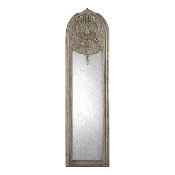 Marecchia Ornate Antiqued Silver Arched Wall Mirror by Uttermost