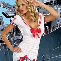 Adult Womens Sexy Sailor Halloween Costume 2pc Dress and Hat Small/Medium