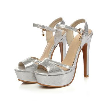 Strappy Metallic High Heel Platform Sandal 3 Colors Size 4 to 15