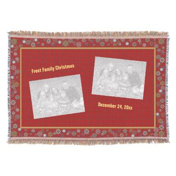 Art Deco Snowflakes Red Plaid Photo Throw Blanket