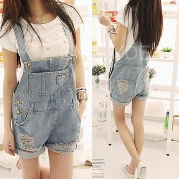 2017 New Lady Casual Washed Denim Jeans Suspenders Shorts Bib Pants Female Loose Jumpsuit And Rompers S-XL