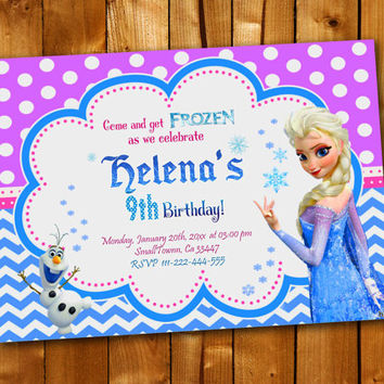 Disney Frozen Elsa Olaf, Birthday Invitation, Birthday Party for little boy and little girl