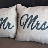 Mr and Mrs Pillow Set - Wedding Gift for Newlyweds
