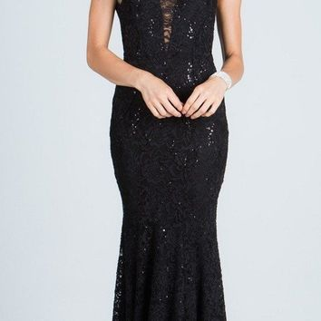 Black Fit and Flare Evening Gown Illusion Plunging Neckline