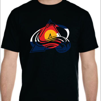 colorado avalanche with colorado flag t-shirt  for men women youth kids