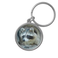 Raccoon Face Silver-Colored Round Keychain
