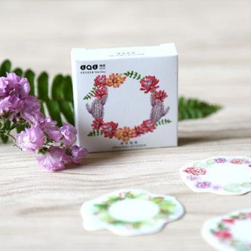 10 /lot DIY Japanese Paper Decorative Adhesive Tape Cartoon The beauty of the wreath Washi Tape/Masking Tape Stickers