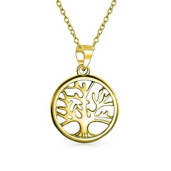 Tree Life Pendant Necklace 14K Gold Plated 925 Sterling Silver in Dia