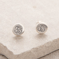 Delicate Sterling Silver Om Earrings