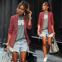 Stylish Casual Women's Fashion Red Plaid Blazer [9509484740]