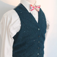 1930's style mens vest petrol knitted, vintage insipered waiscoat, blue knitted vest, 1940's waistcoat, depression style vest