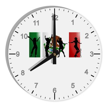 "Mexican Flag - Dancing Silhouettes 8"" Round Wall Clock with Numbers by TooLoud"