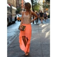 Neon Orange High-Low Skirt