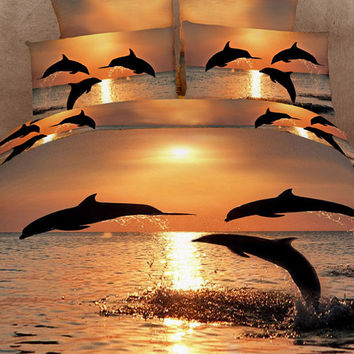 Dolphins at Sunset 3D Bedding Set