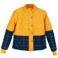 ROMWE | ROMWE Plaid Seamed long-sleeved Quilted Yellow Coat, The Latest Street Fashion