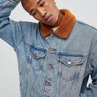 ASOS Oversized Denim Jacket with Rust Borg Collar at asos.com