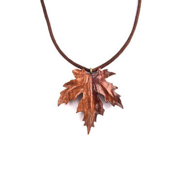Maple Leaf Pendant, Wooden Leaf Necklace, Wooden Pendant, Hand Carved Leaf Pendant, Handmade Pendant, Wood Leaf Jewelry, Wooden Maple Leaf
