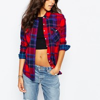 Converse Oversized Boyfriend Checked Shirt With Popper Detail