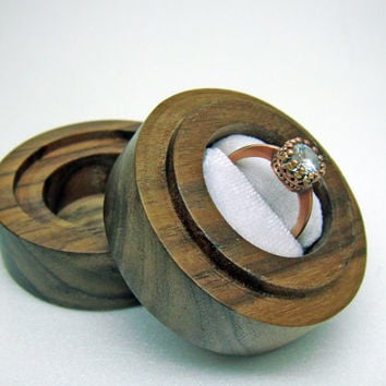 Wooden Engagement Proposal Ring Box, Small & Stylish Walnut wood - MADE TO ORDER