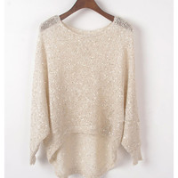 A 072914 Bat -sleeved blouse irregular knit sweater