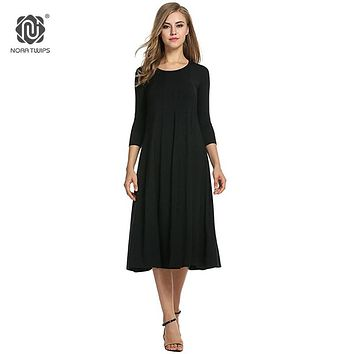 c97af3ba2c1ad 2018 Women Cotton And Linen Vintage Dress Casual Loose Solid Lon