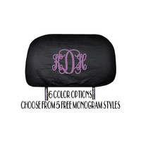 Set of 2 Monogrammed Universal Headrest Covers For Cars Trucks and SUV