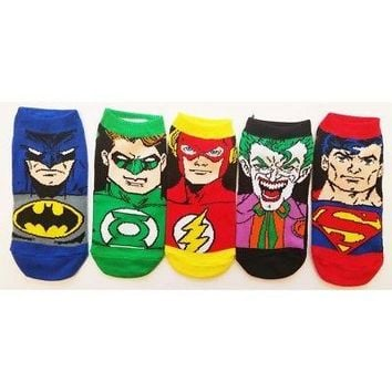 DC Comics DC Faces Youth 5 Pack Low Cut Socks