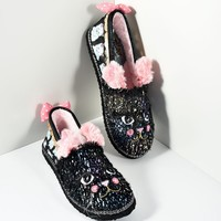 Irregular Choice Black Furry Cat Nap Slippers