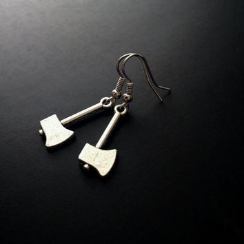 Axe Earrings, 90s Jewelry, Silver Jewelry, Spooky Jewerly, Silver Axe, Grunge Earrings, Soft Grunge Jewelry, 90s Grunge, Halloween, Tumblr