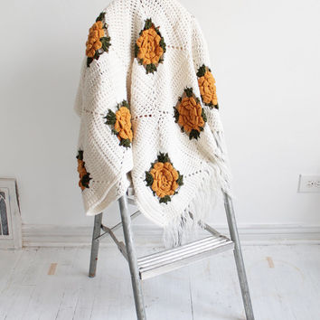 Vintage 70s Ivory Crocheted Throw Blanket with Mustard Flowers